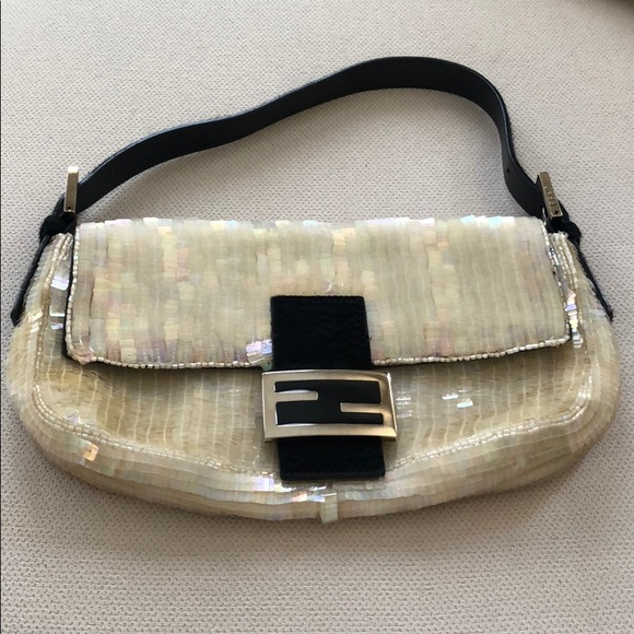 0bd55d5fc2 Fendi Handbags - FENDI Baguette Sequin Purse Fur Trim